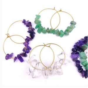 Jewelry - ✨Gold catch hoops with natural stones✨